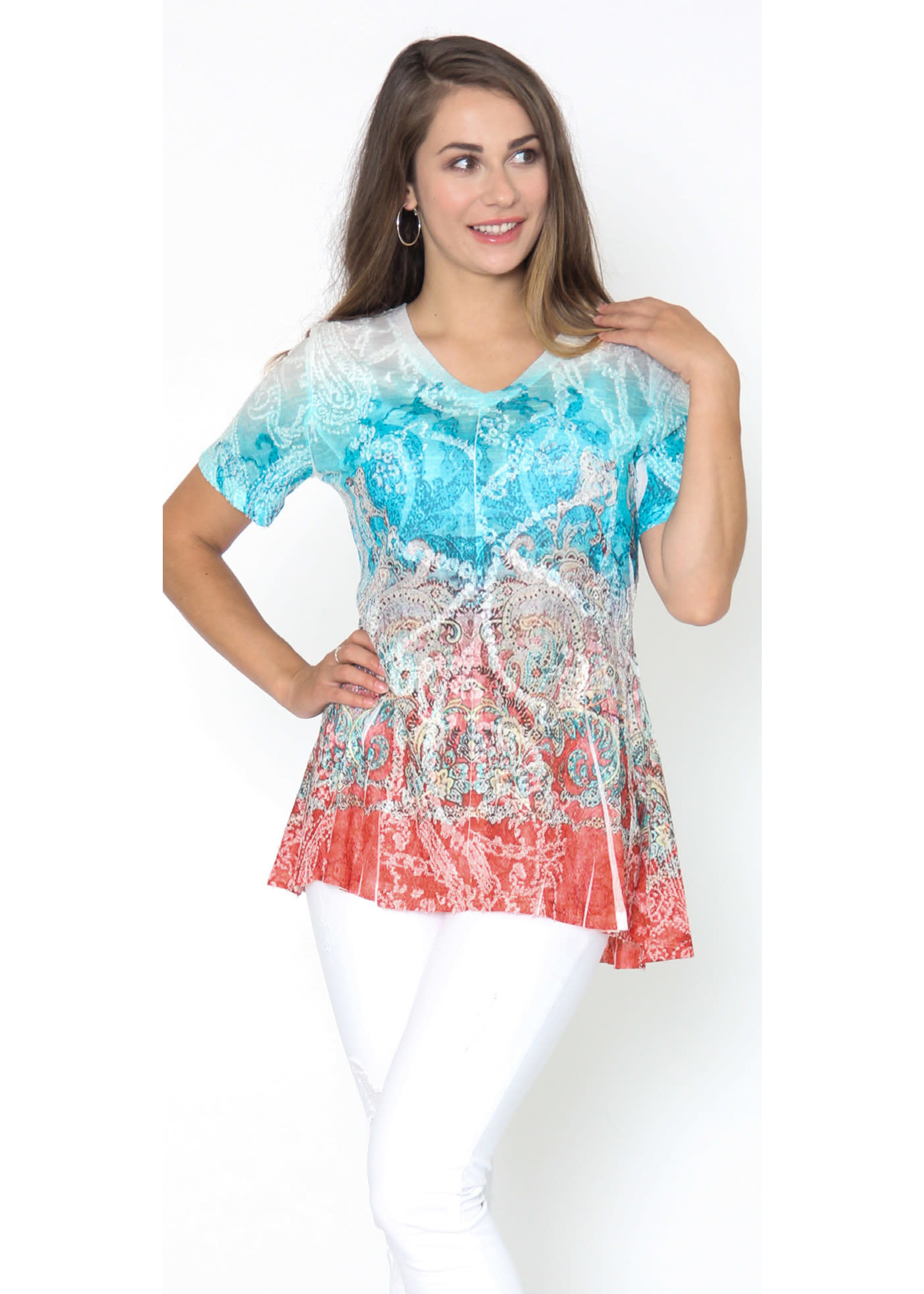 Captiva Turqouise & Red Print Top