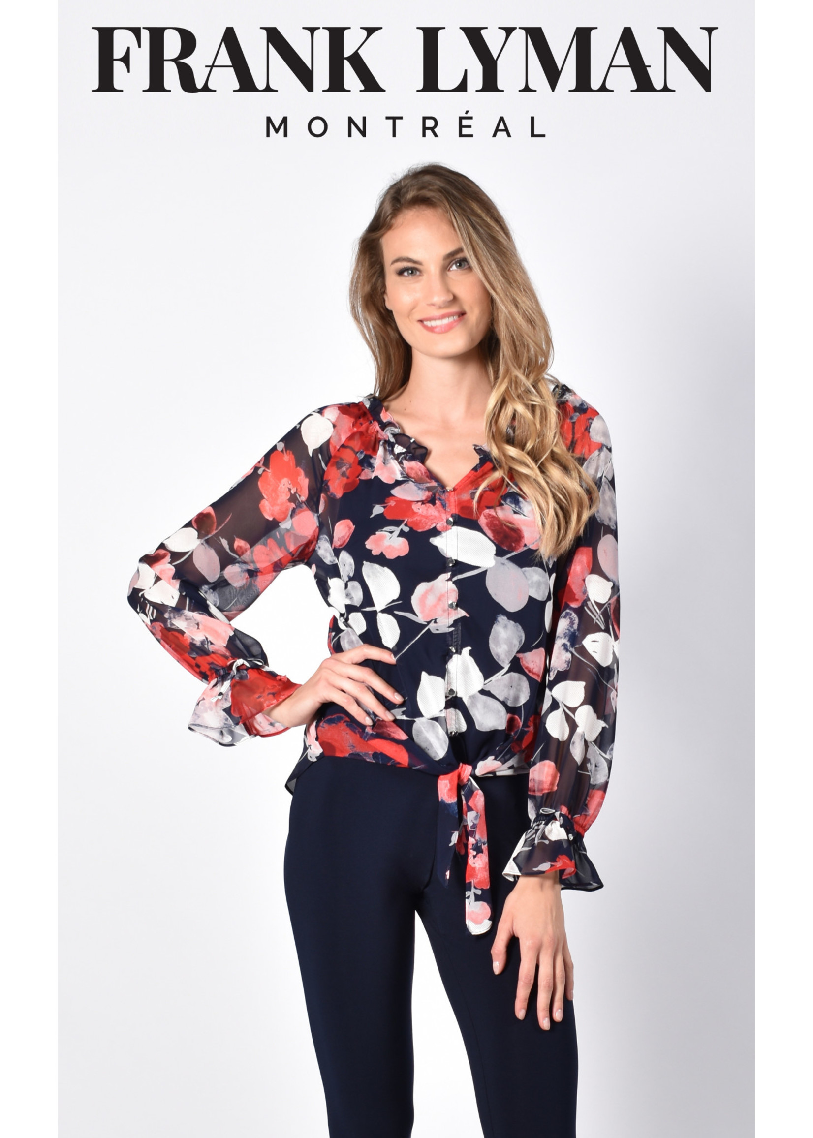 Frank Lyman Navy/Red Woven Top