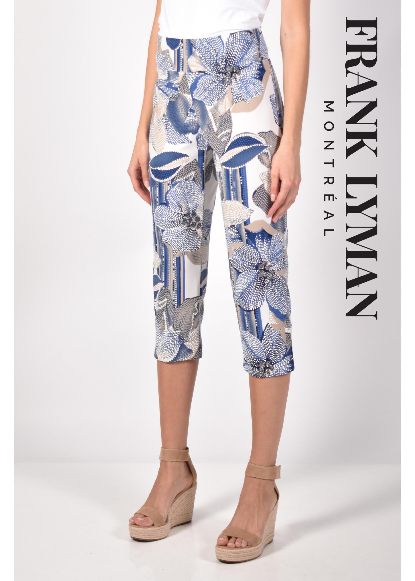Frank Lyman Blue & Beige Knit Capri