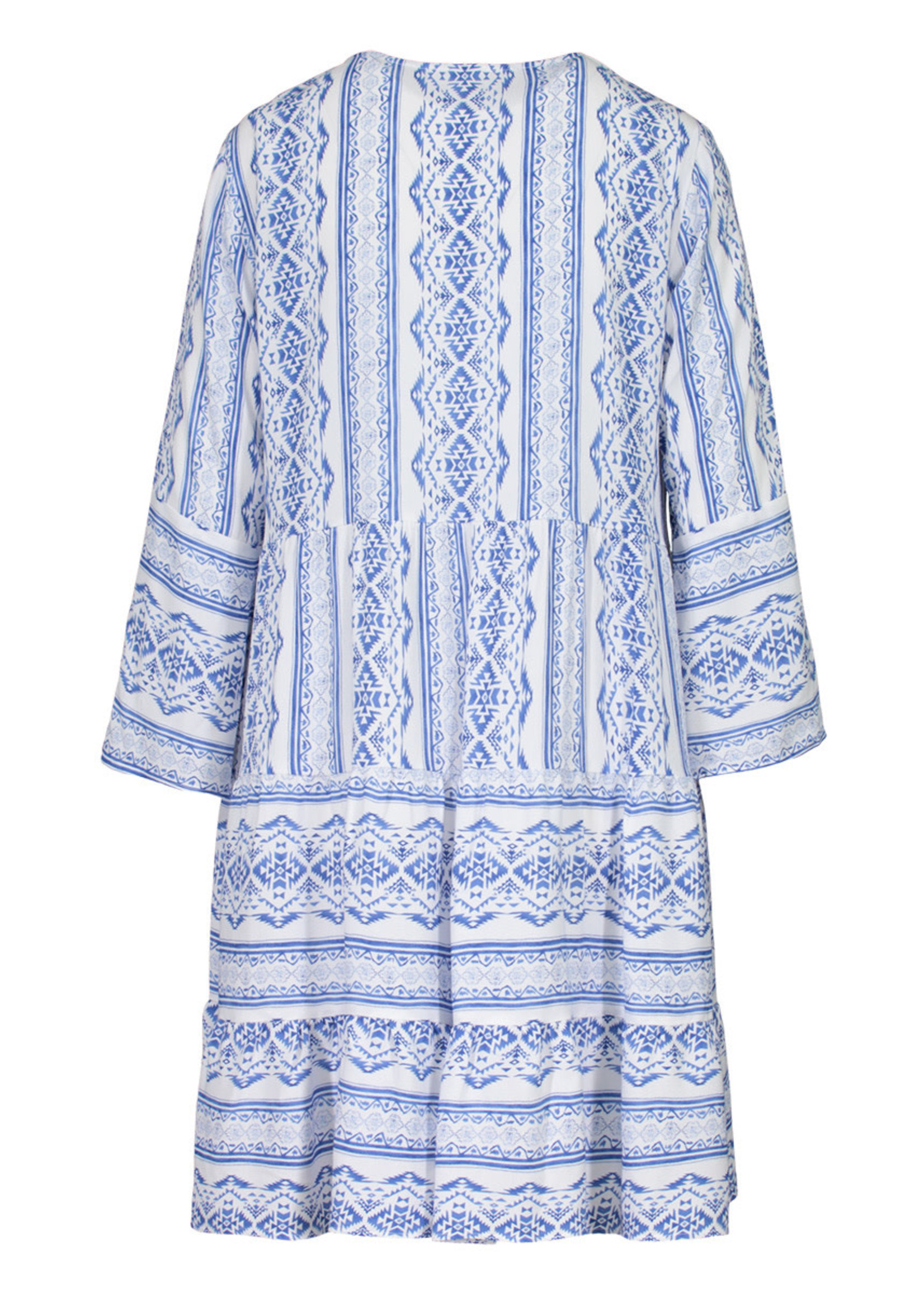Tribal V-Neck Bell Sleeve Tiered Dress
