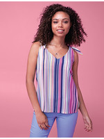 Tribal Sleeveless Blouse With Tie