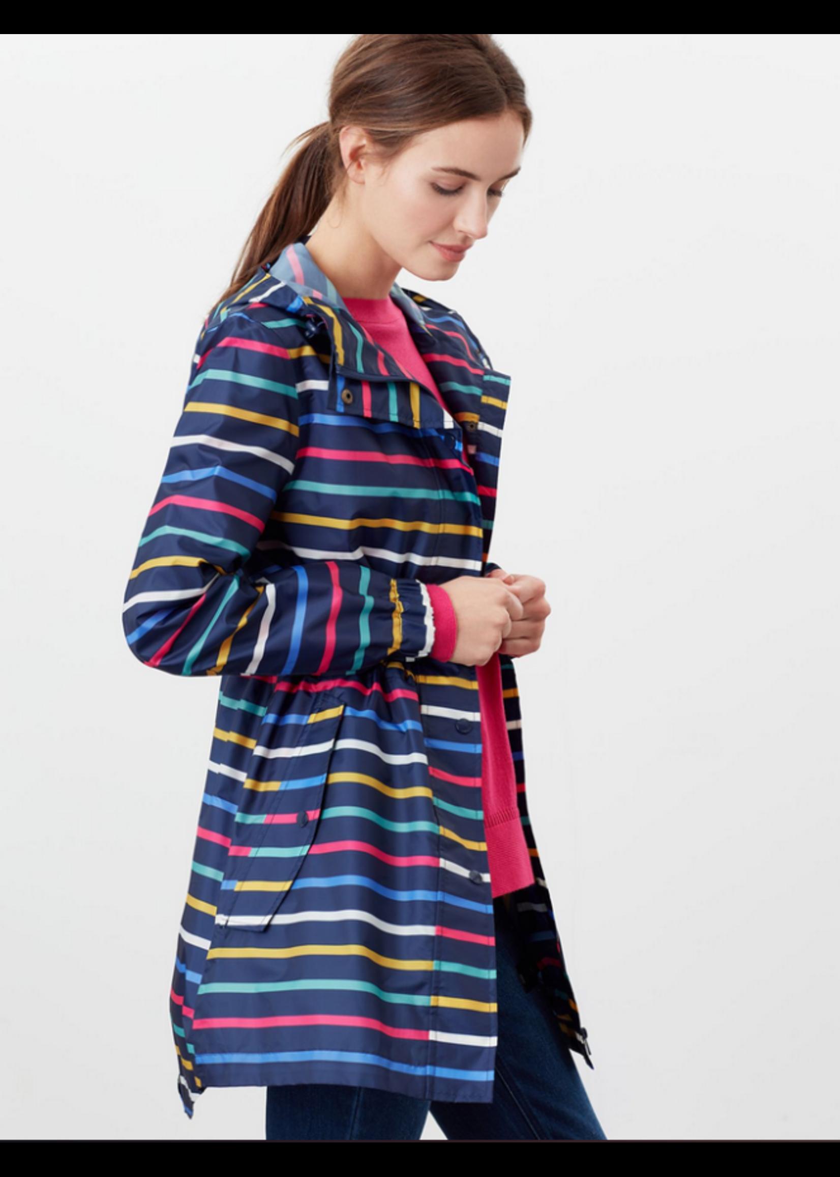 Joules Golightly Multistripe Printed Waterproof Jacket
