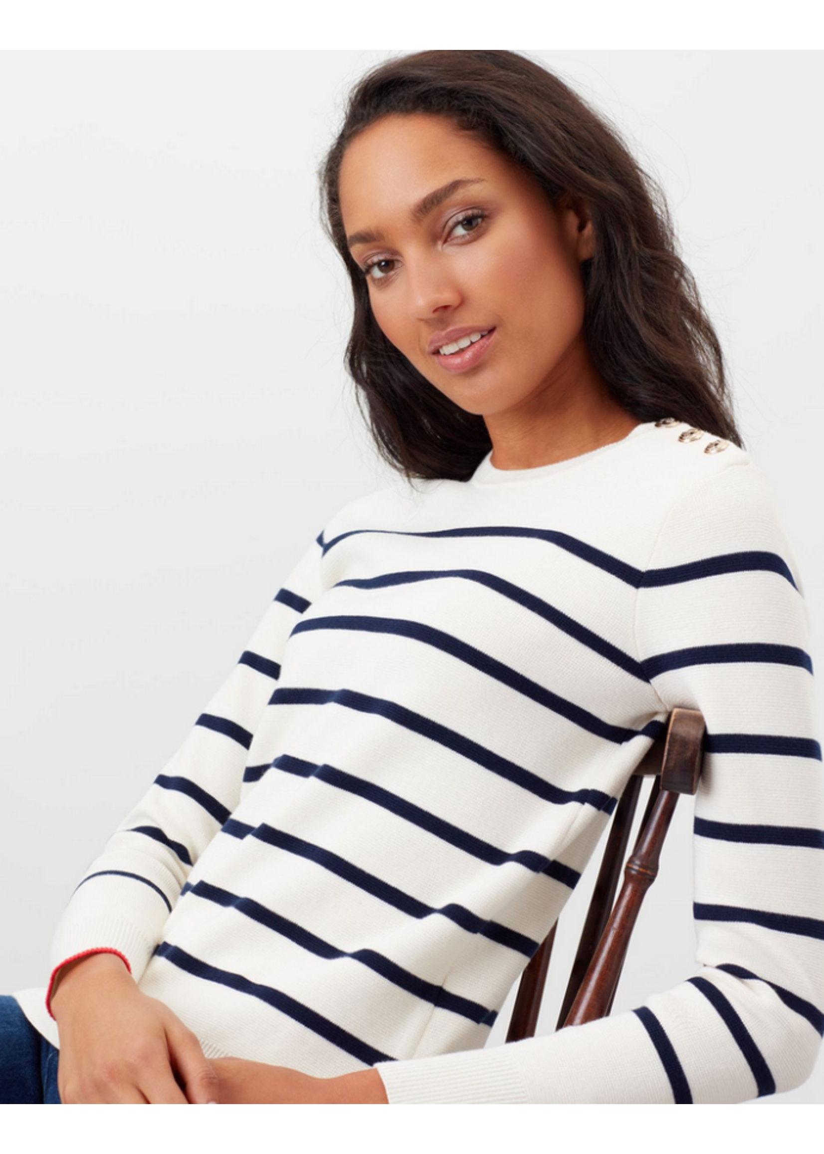 Joules Portlow Cream Stripe Jumper With Button Shoulder
