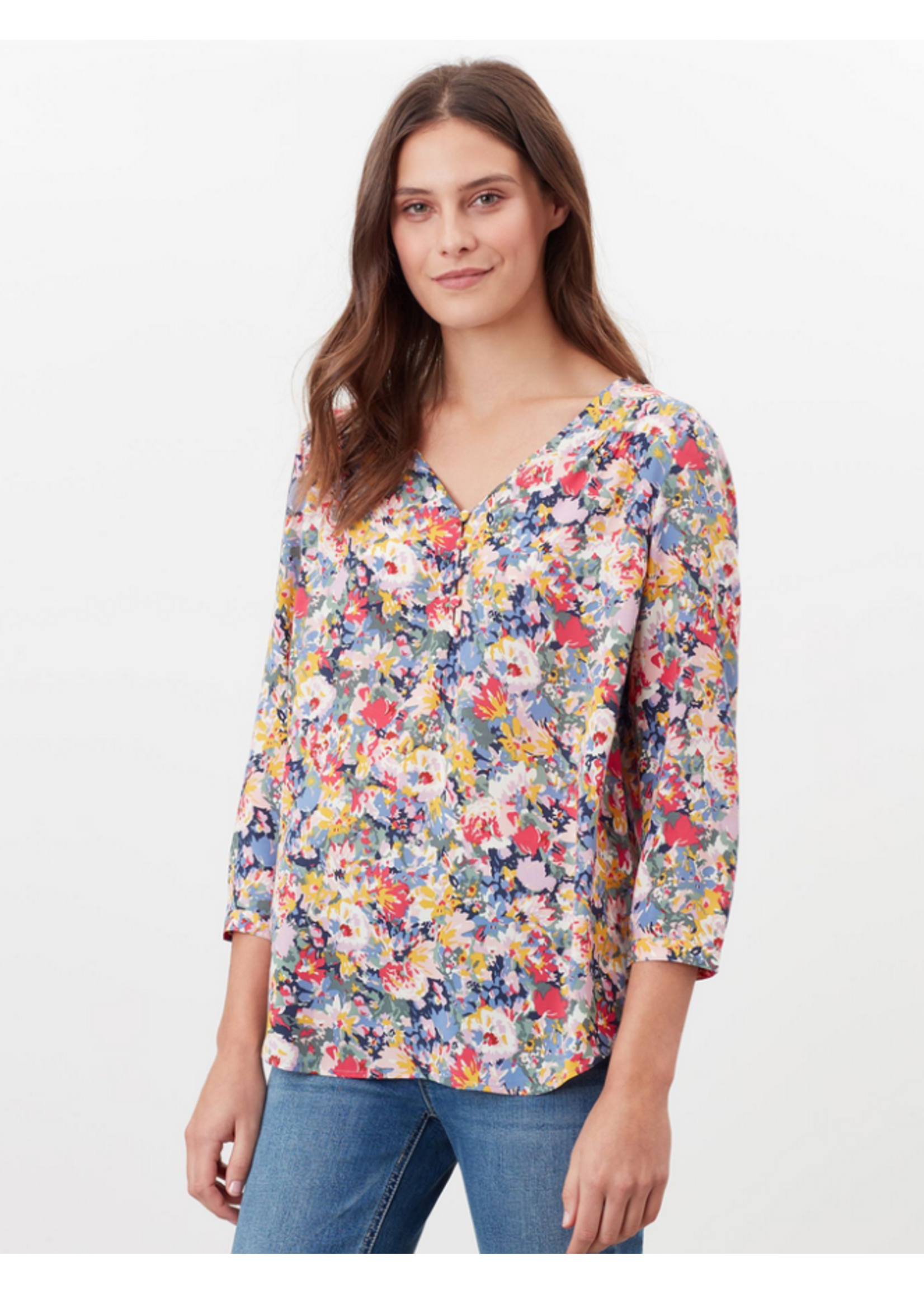 Joules Briella V Neck Long Sleeve Woven Top