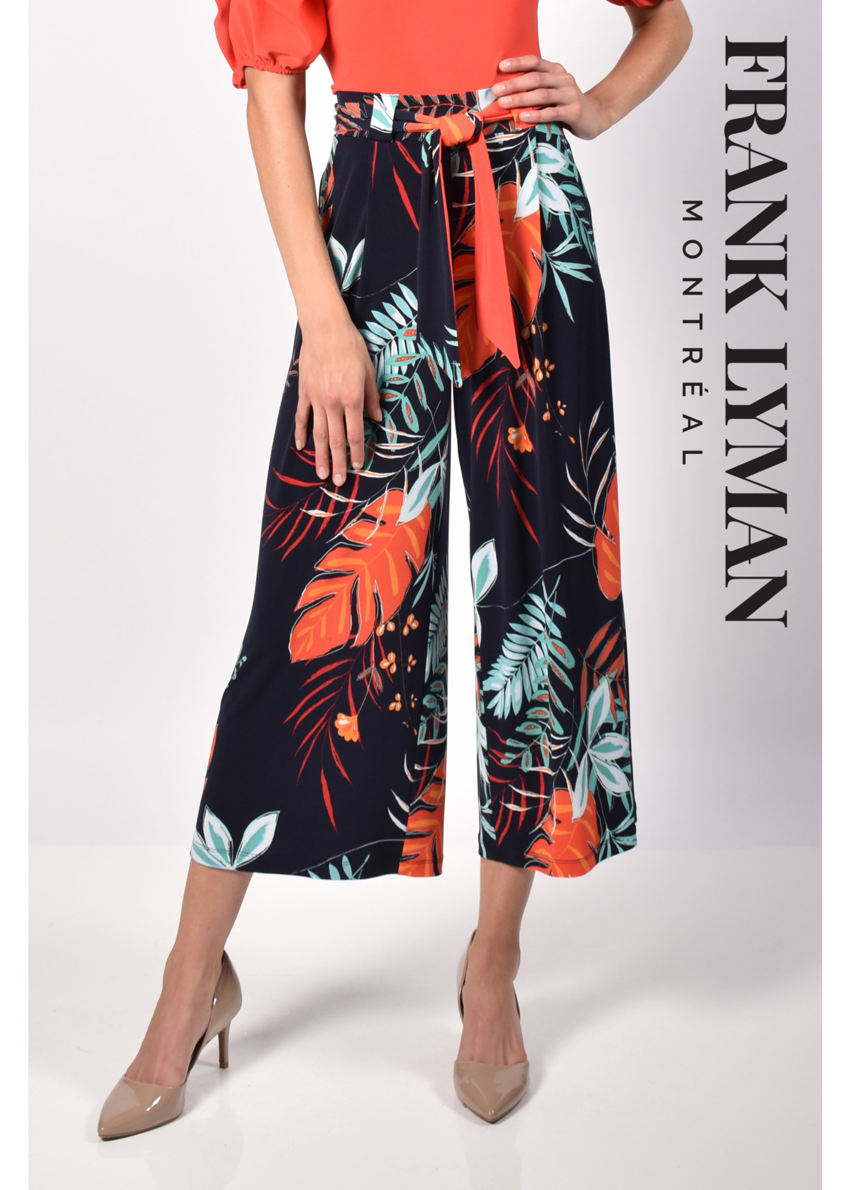 Frank Lyman Navy/Orange Knit Culottes