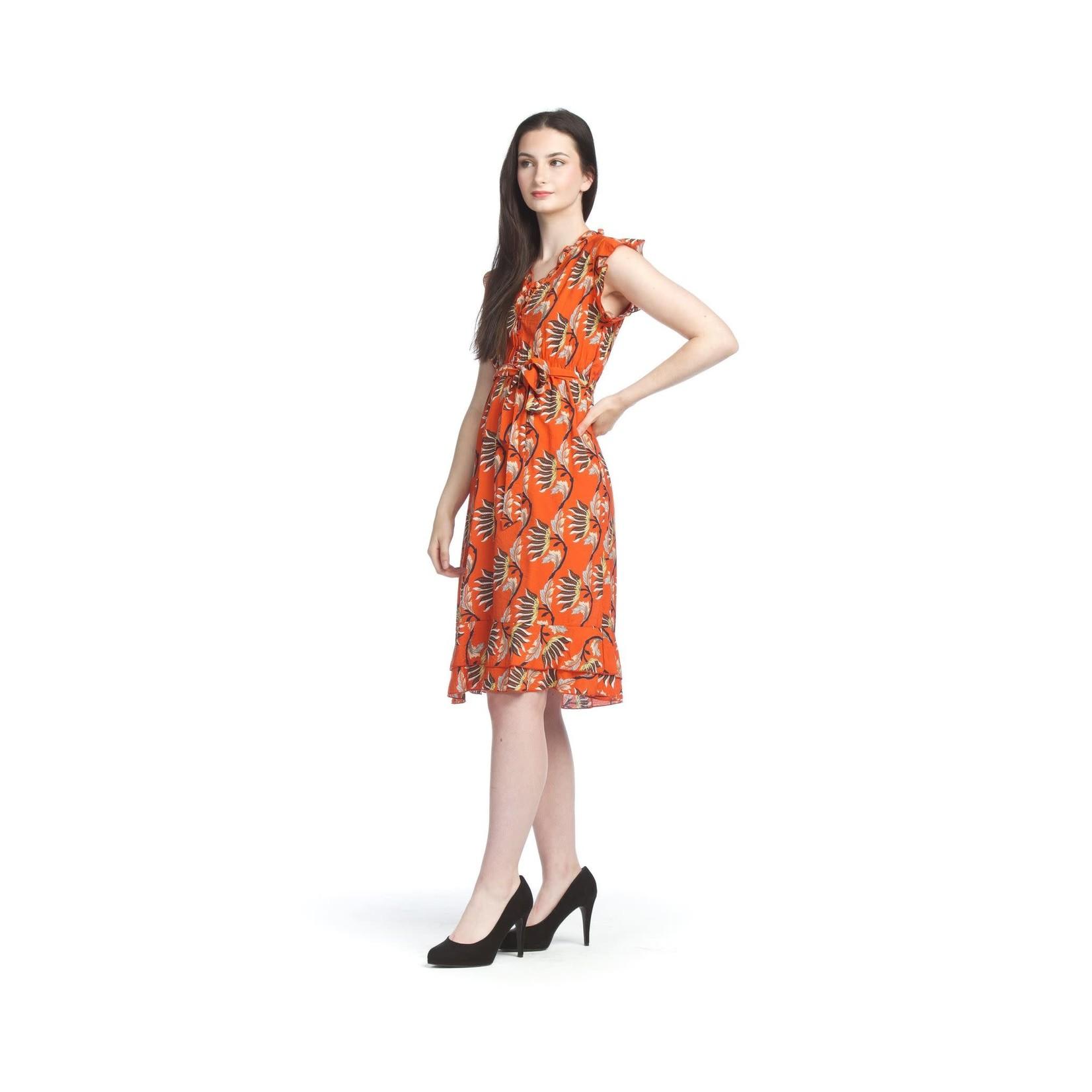 Papillon Tropical Ruffle Trim Midi Dress