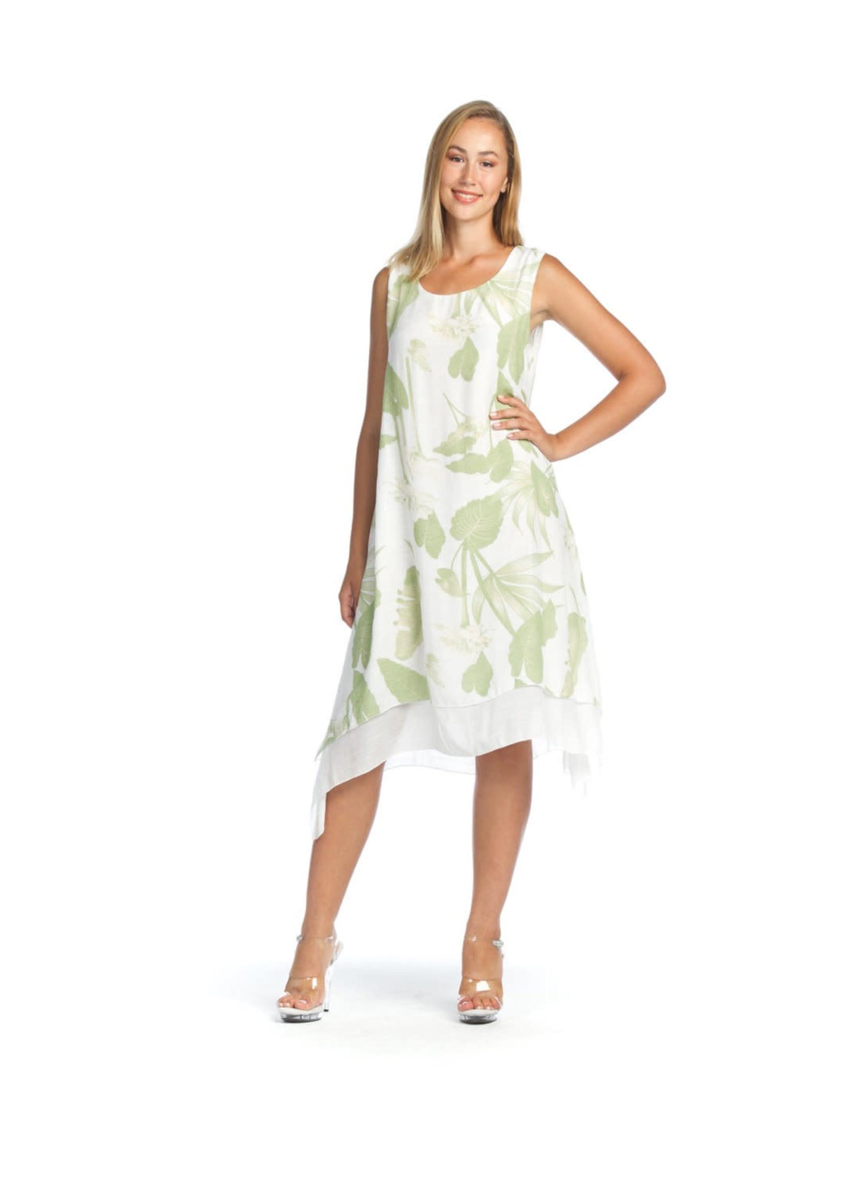 Papillon Leaf Print Layered  Dress