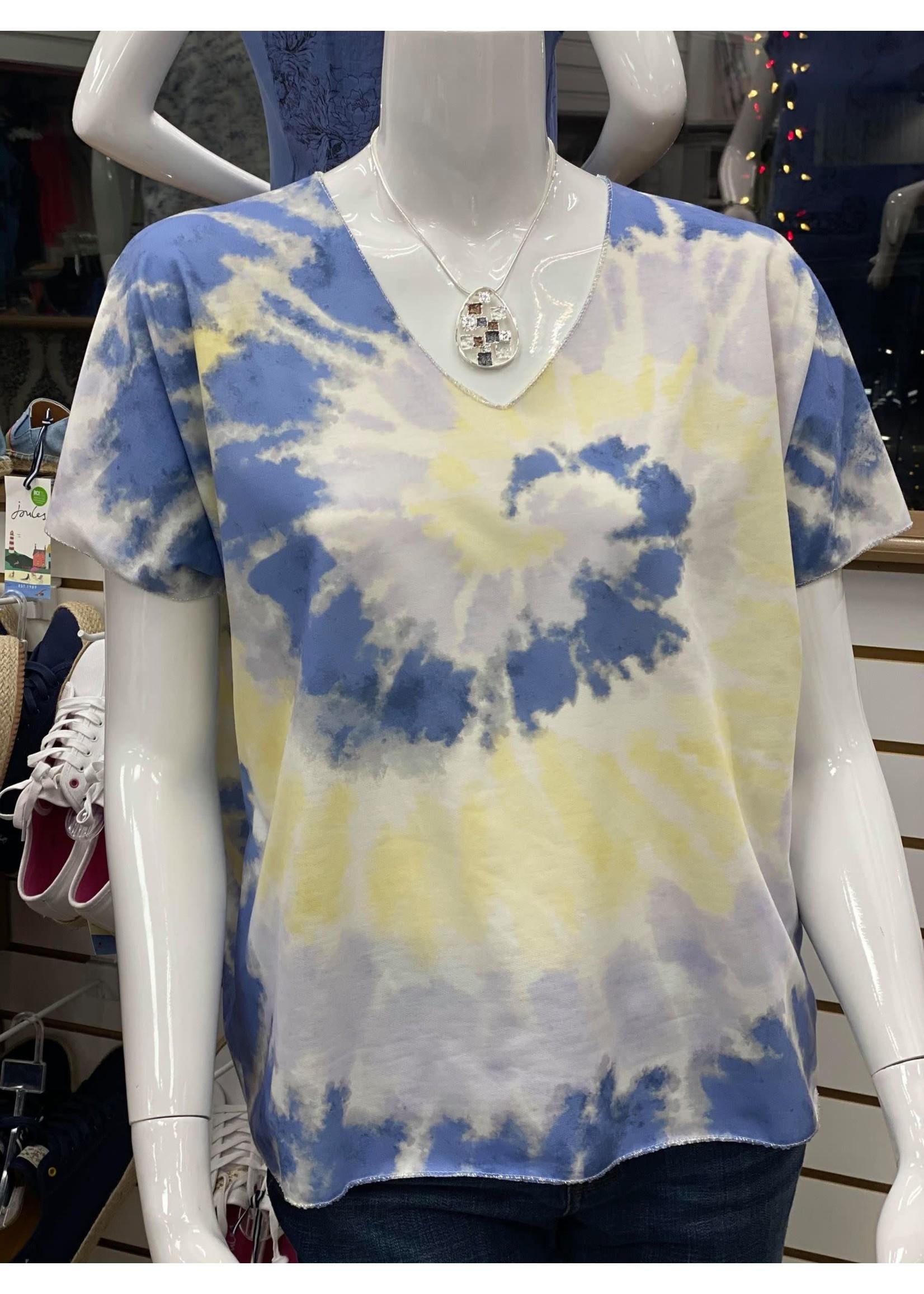 Angela Mara Tye Dye Top With Lurex
