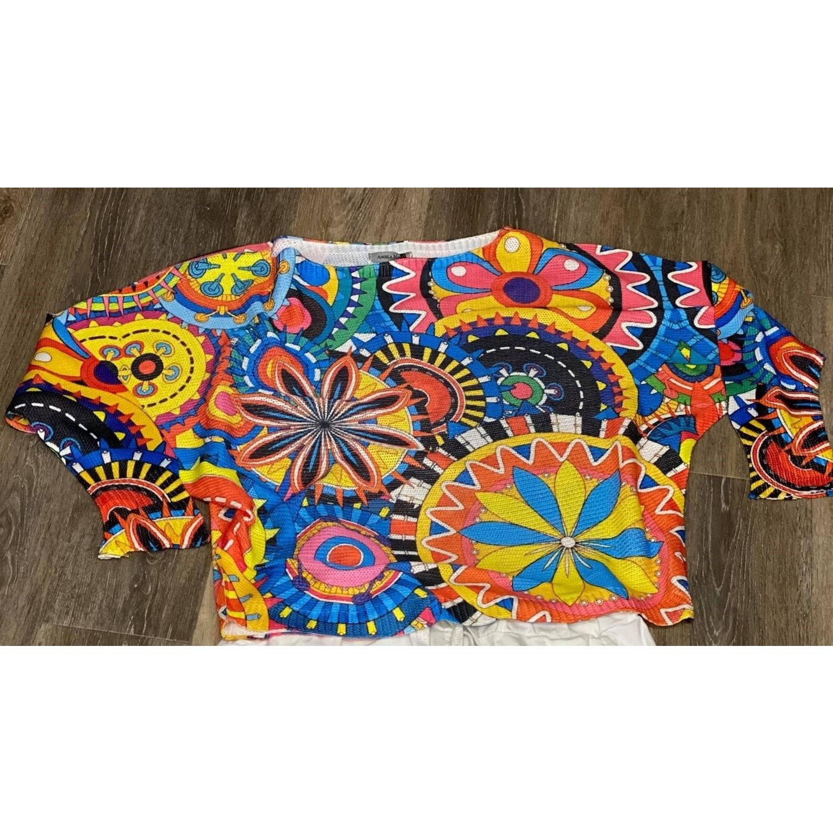 Angela Mara Wild Floral Sweater
