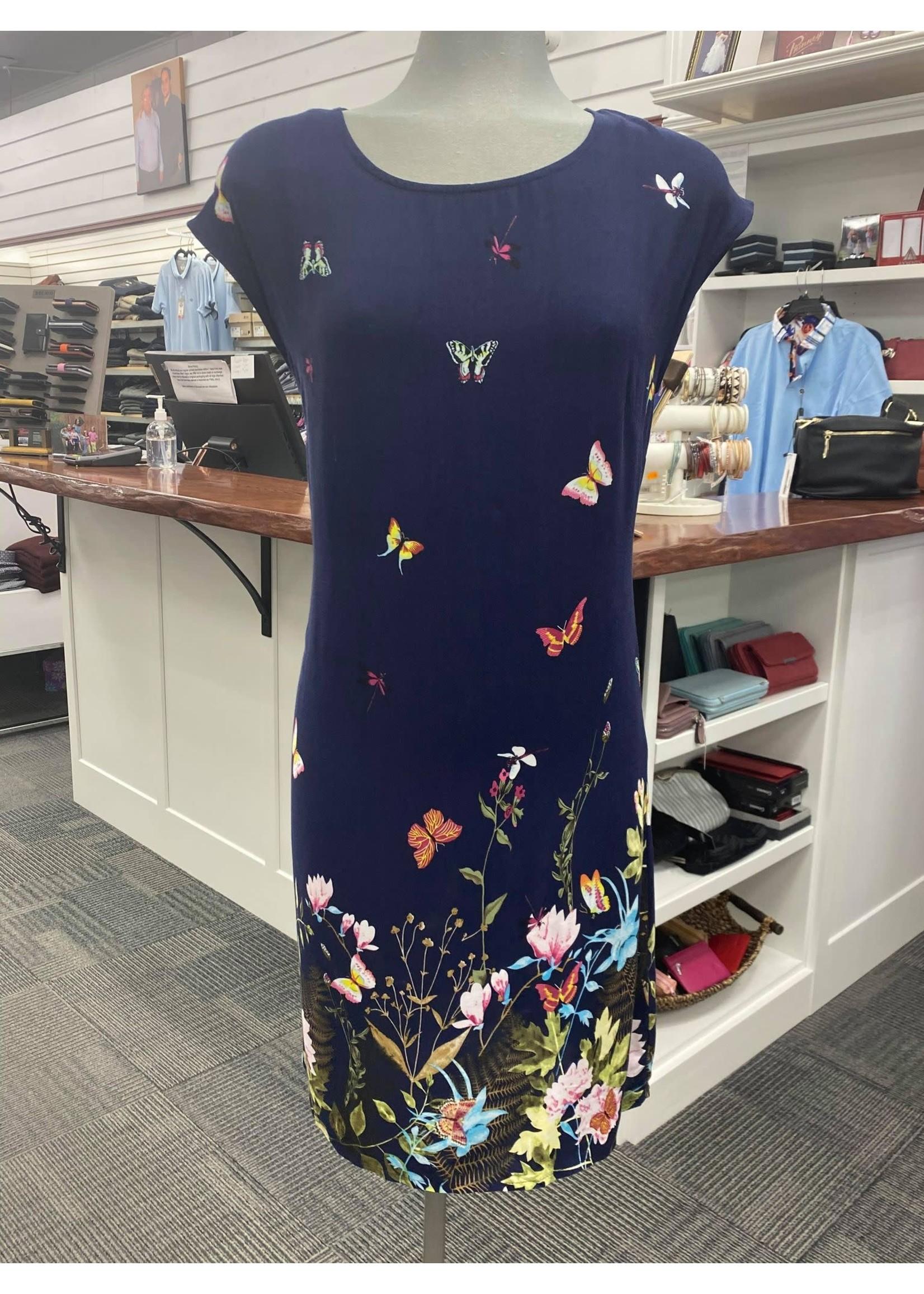 Papillon Border Print Dress Butterflies