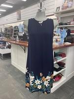 Papillon Border Print Dress With Back Zip