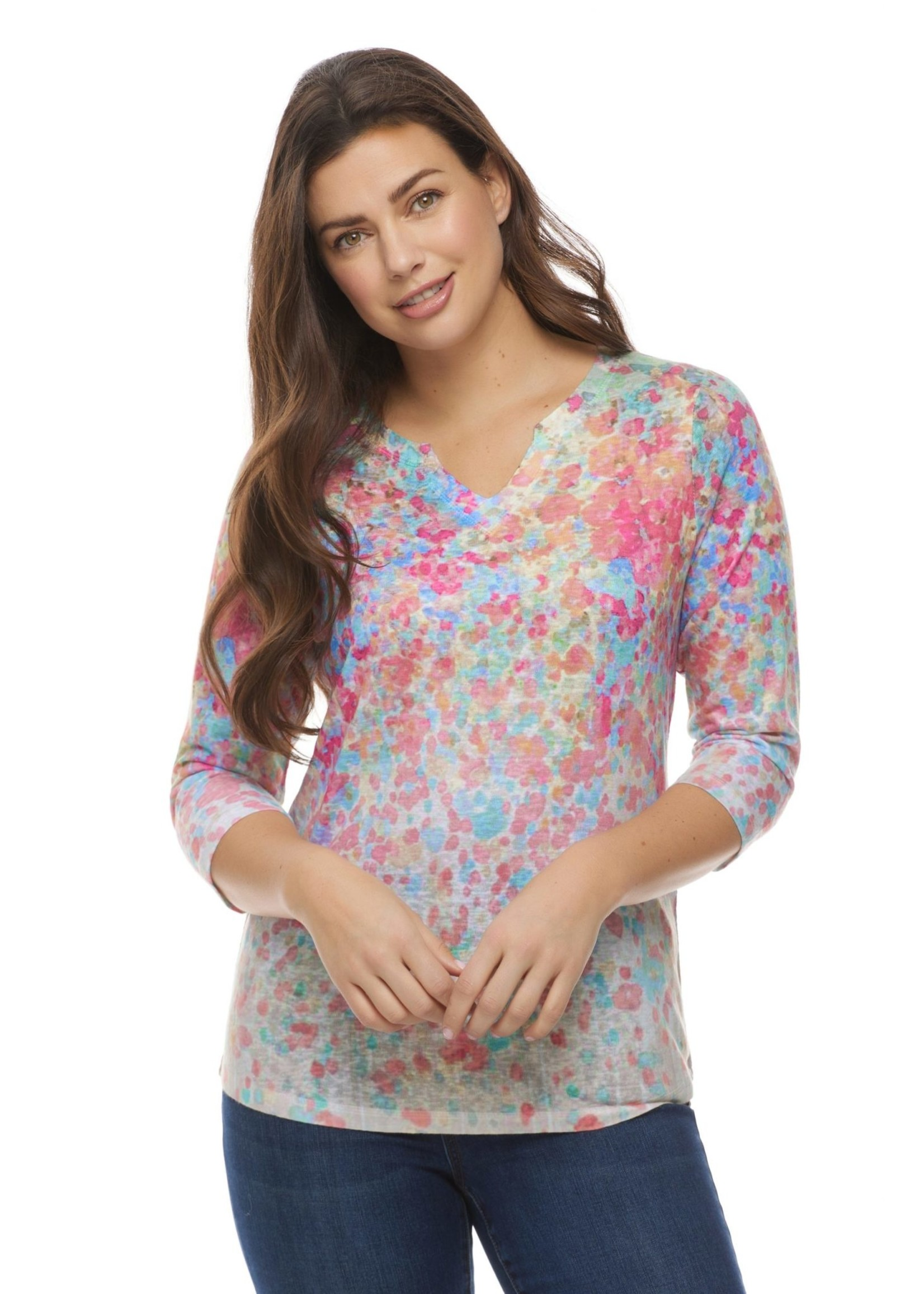 FDJ Floral print notched crew neck top