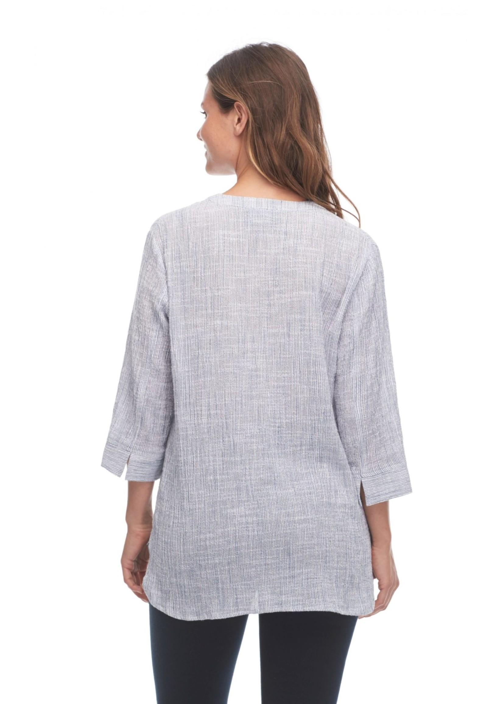 FDJ Crinkled Stripe Tunic Blouse With 3/4 Sleeves