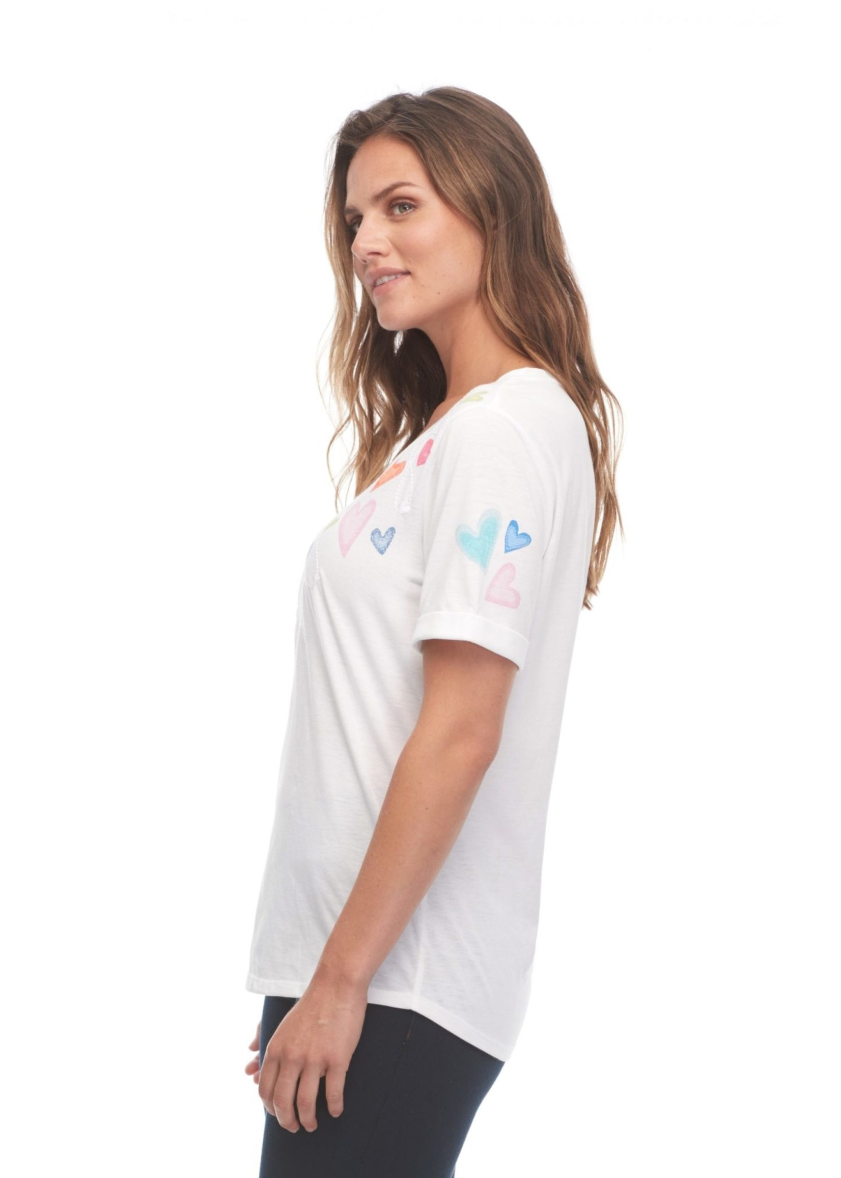 FDJ Heart Print / Embroidered Short Sleeve Top