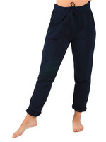 Catherine Lily White Navy Rolled Cuff Pants