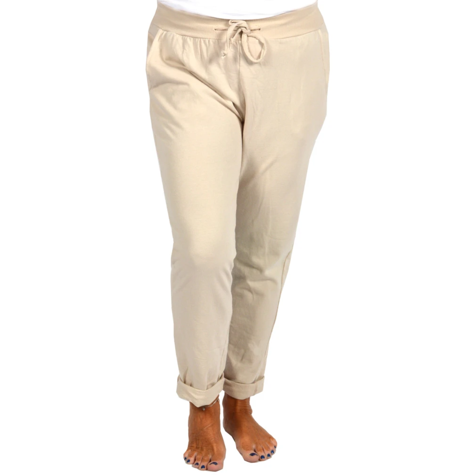 Catherine Lily White Beige Rolled Cuff Pant