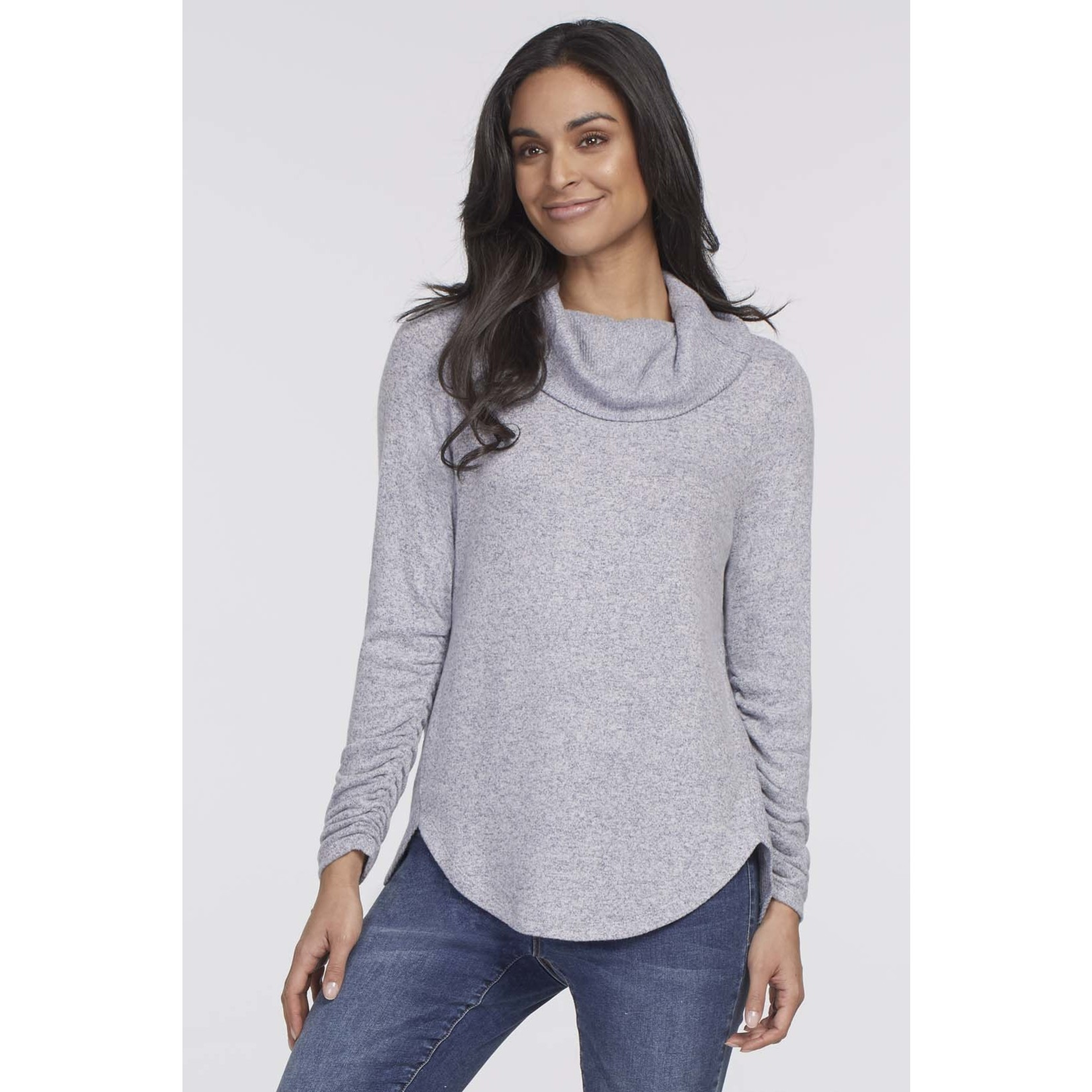 Tribal Long Sleever Cowl Neck Top With Shirring Detail