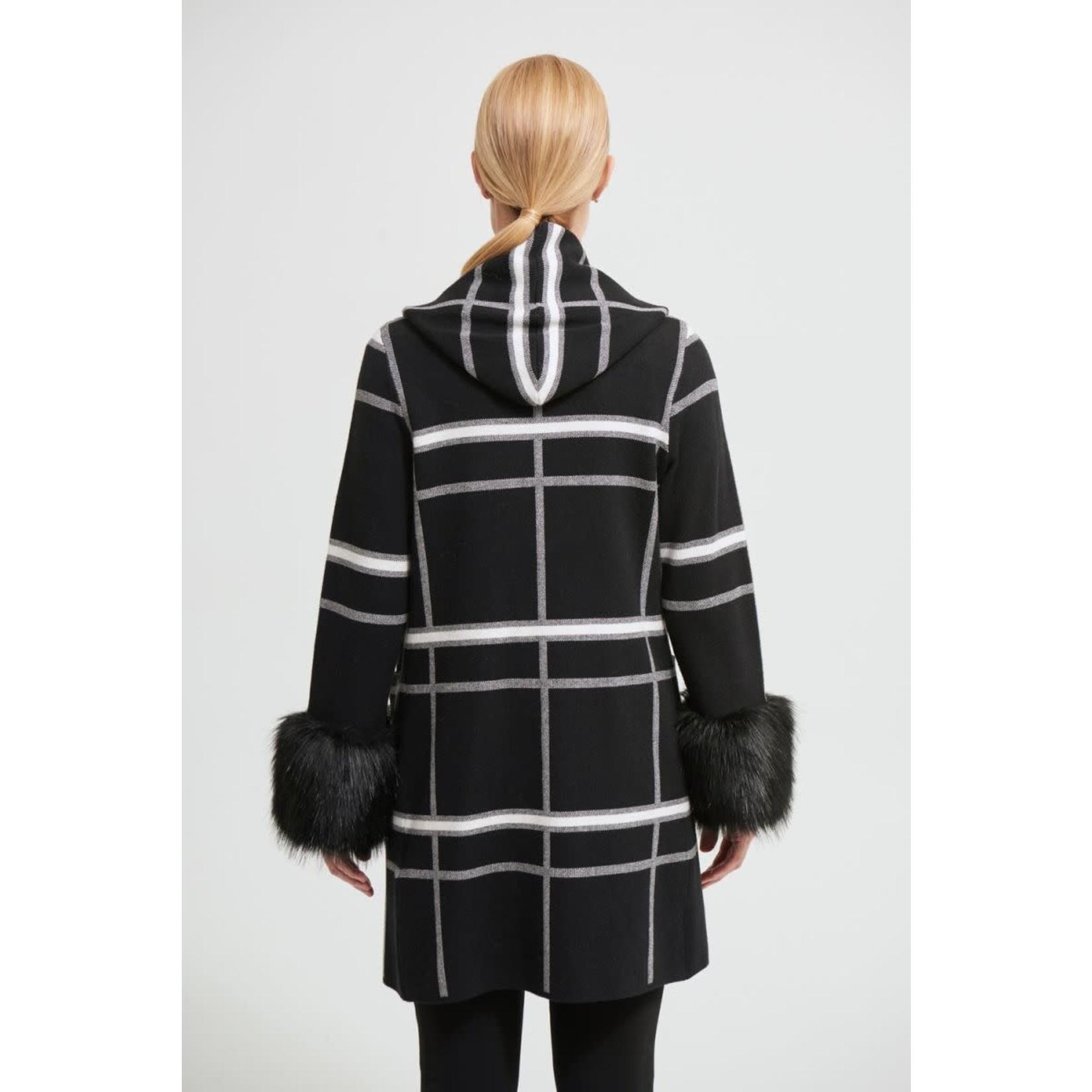 Joseph Ribkoff Joseph Ribkoff Black/Vanilla Faux Fur Cuff Coat Style 213904