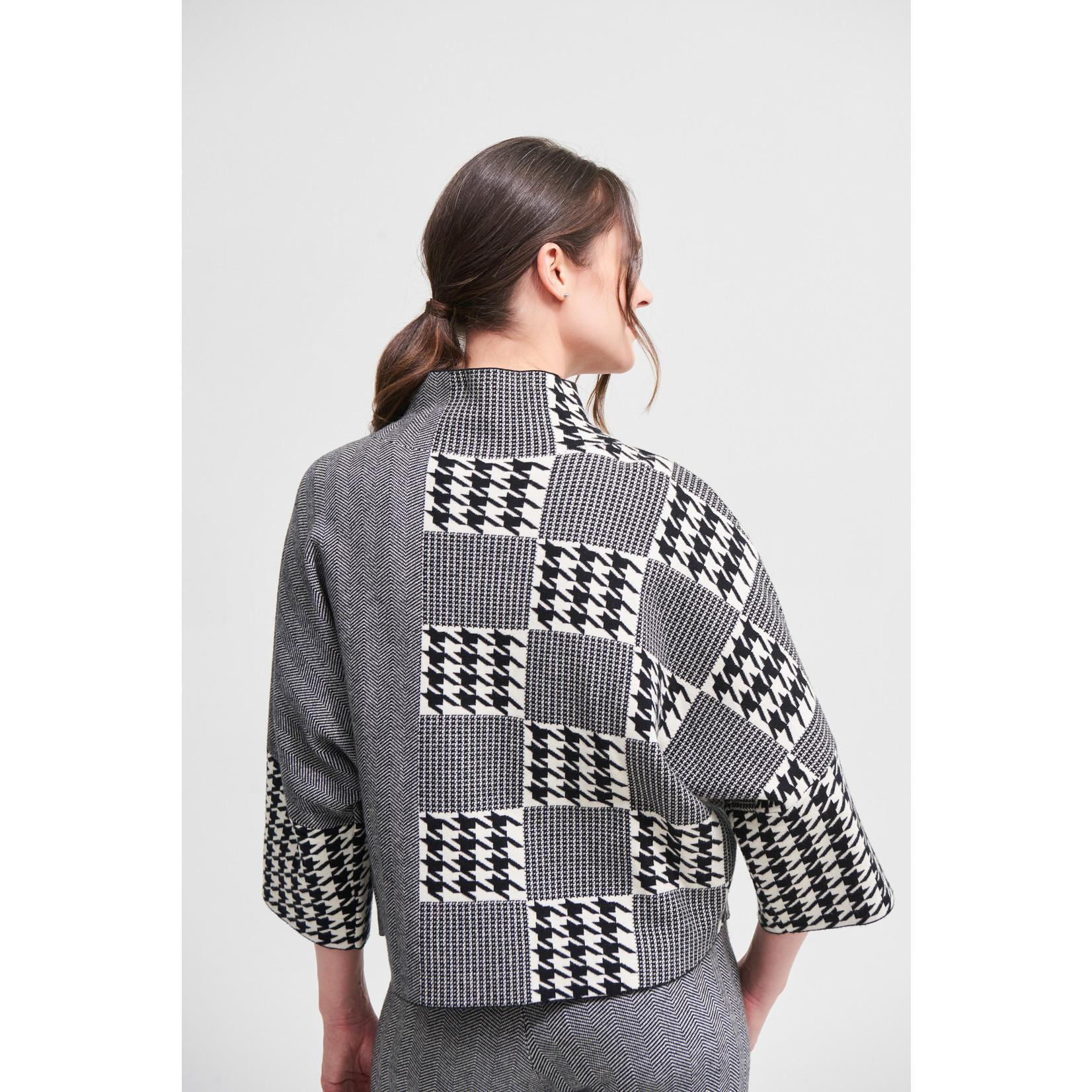 Joseph Ribkoff Black/Vanilla Houndstooth Sweater Style 213912