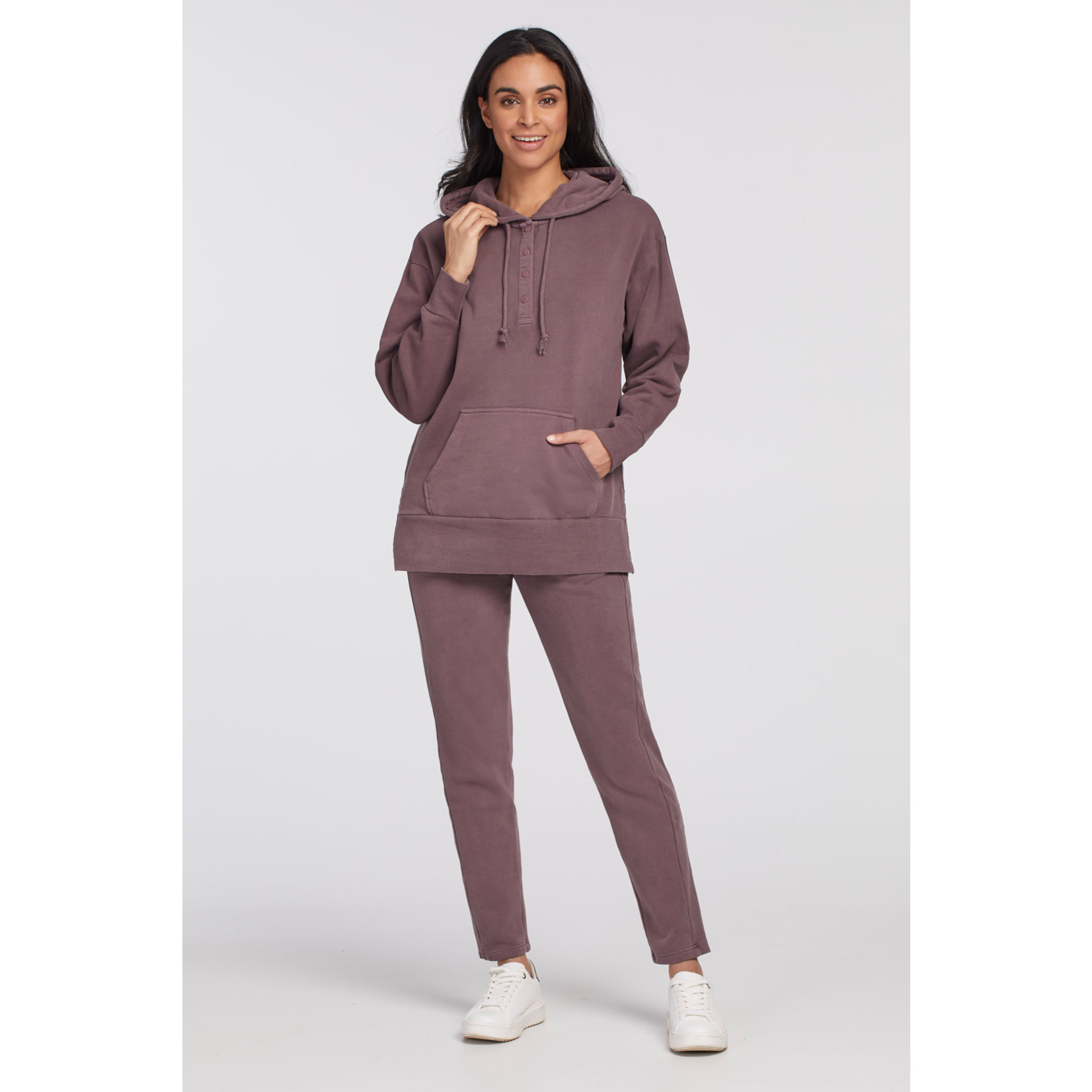 Hoody With Side Slits & Snap Placket
