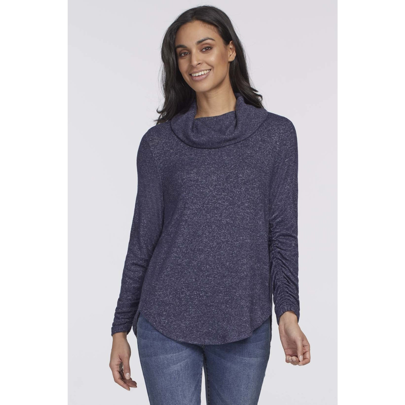 Tribal Cowl Neck Top With Shirring Detail
