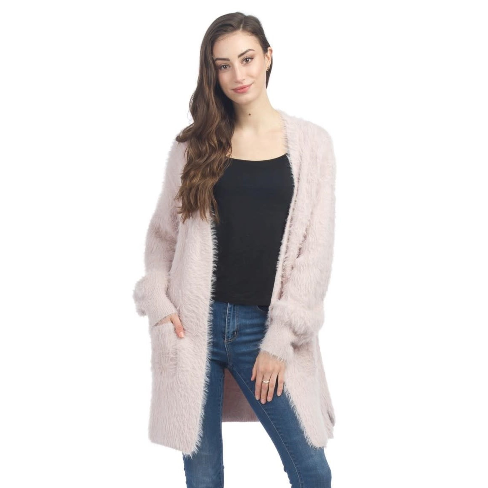 Papillon Fuzzy Long Cardigan With Pockets