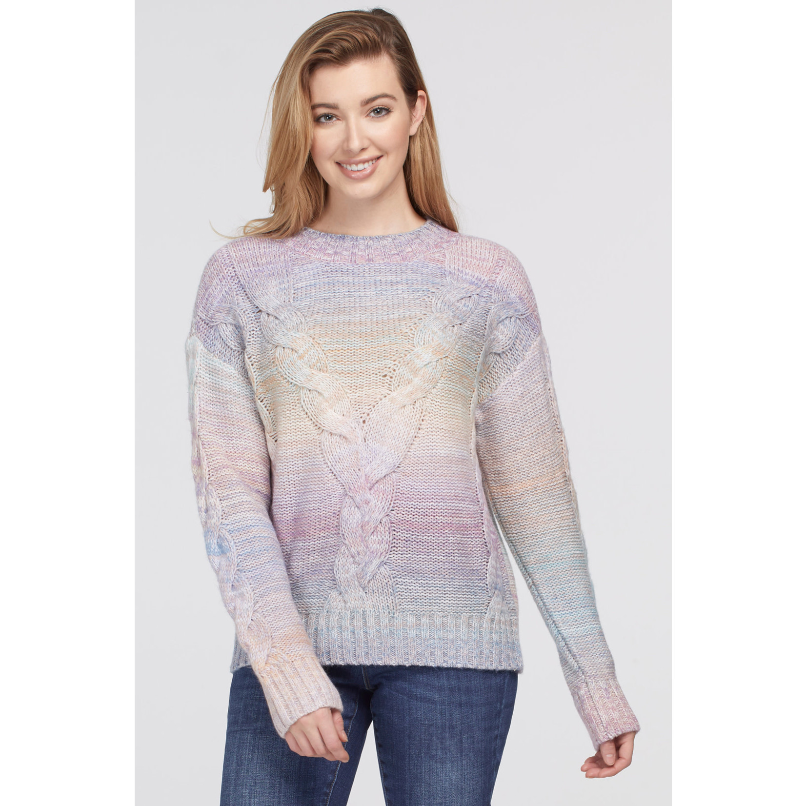 Tribal Mock Neck Sweater With Cable Detail
