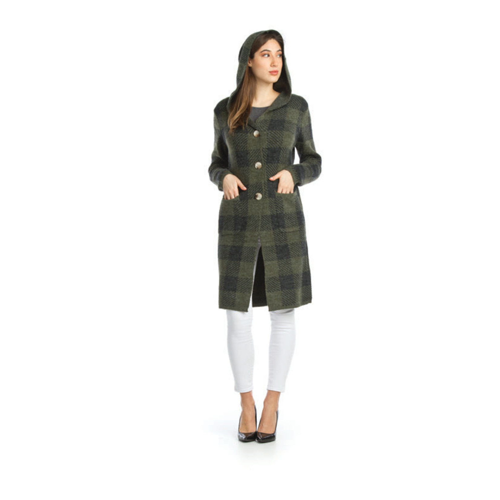 Papillon Plaid Knit Button Front Hooded Jacket