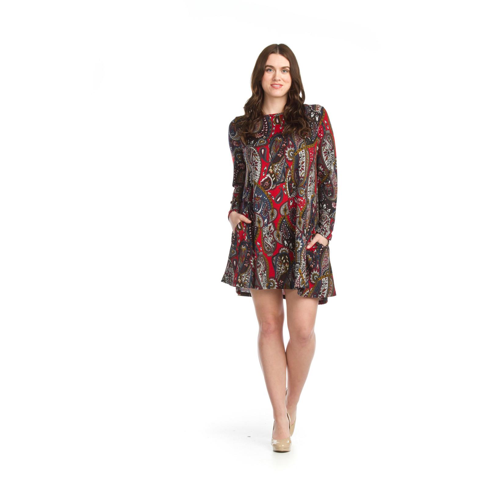Papillon Paisley Knit A-line Sweater Dress