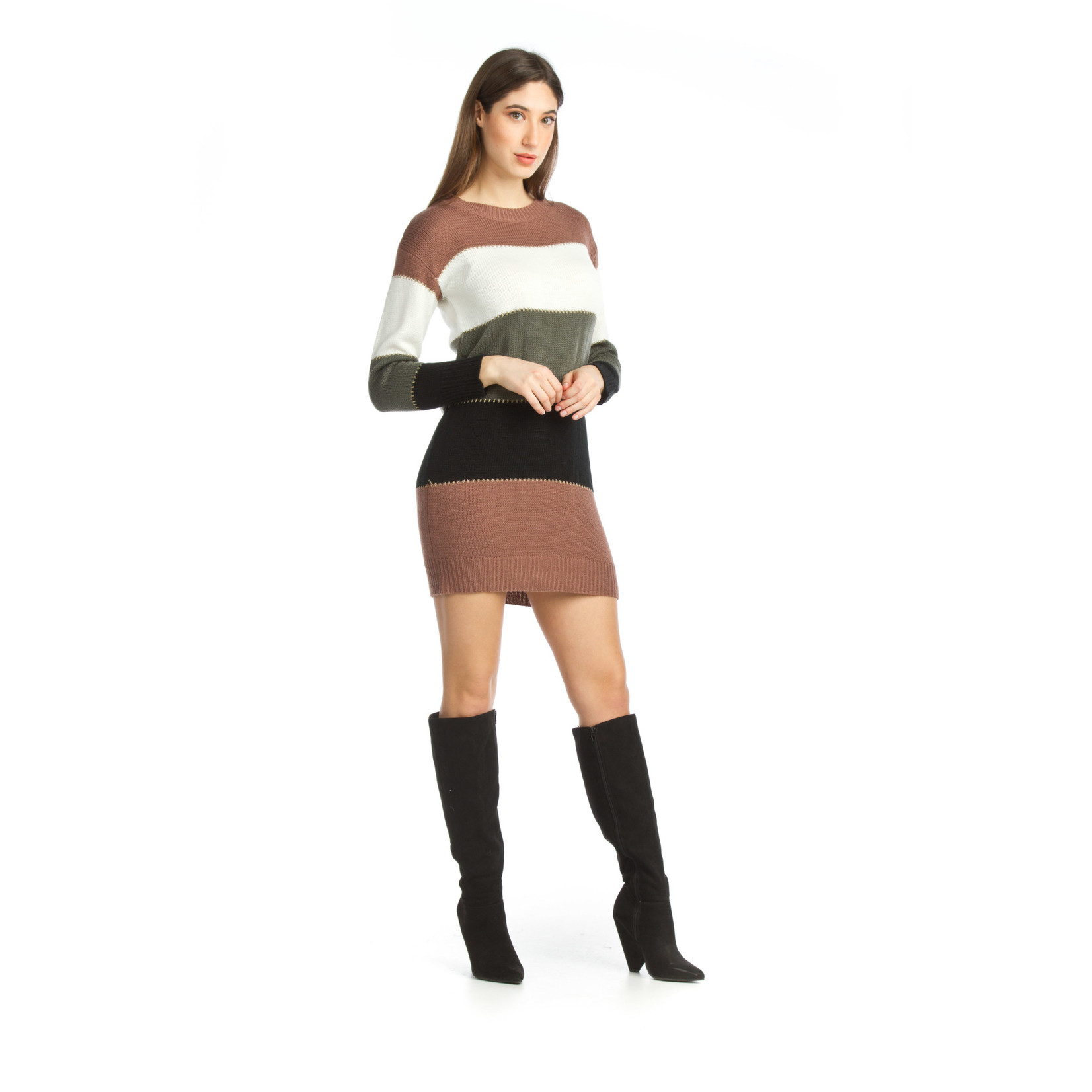 Papillon Colorblock Knit Sweater Dress