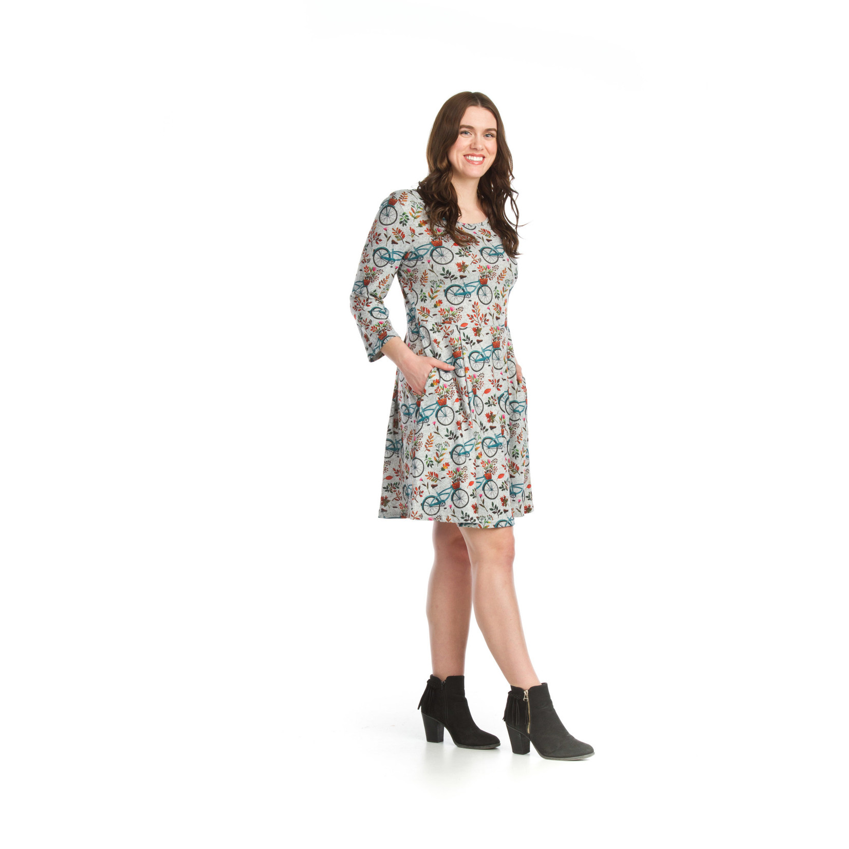 Papillon Bicycle Print Fit n Flair Sweater Dress