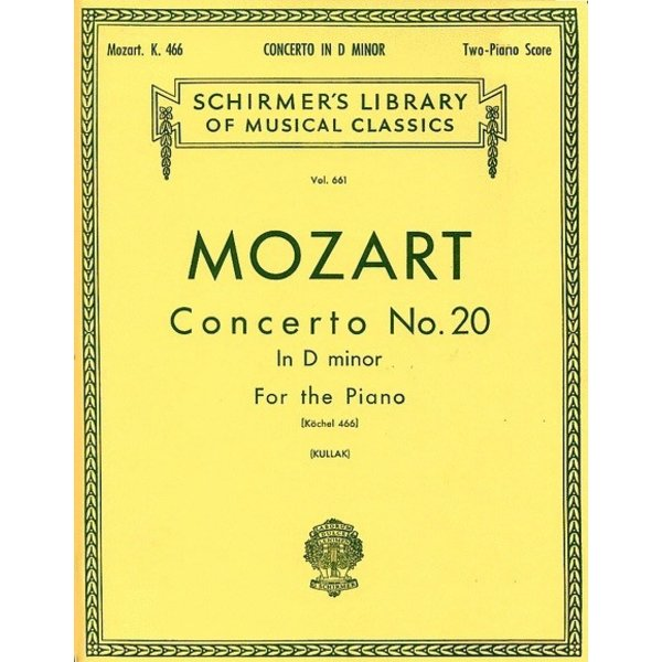 Schirmer Mozart - Concerto No. 20 in D Minor, K.466