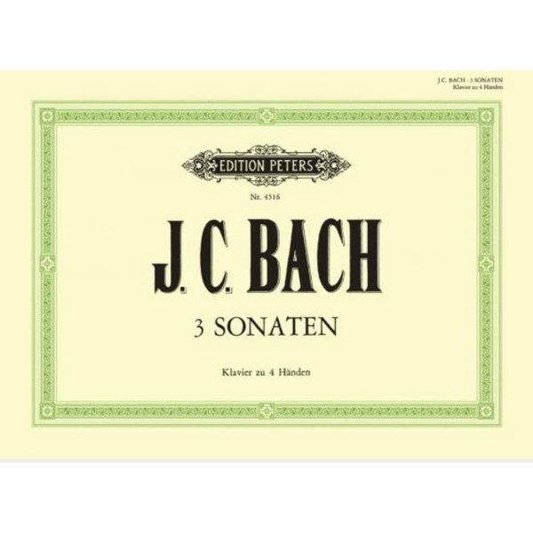 Edition Peters Bach - 3 Sonata for Piano 4 Hands