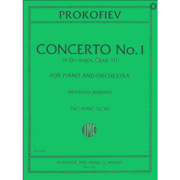 International Music Company (IMC) Prokofiev - Concerto No. 1 in Db major, Opus 10