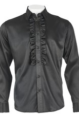INSERCH MERC USA Shirt Satin Ruffle ModernFit Black