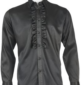 INSERCH MERC USA Shirt Satin Ruffle ModernFit Black