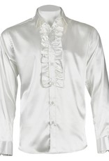 INSERCH MERC USA Shirt Satin Ruffle ModernFit White
