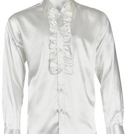 INSERCH MERC USA Shirt Satin Ruffle ModernFit White