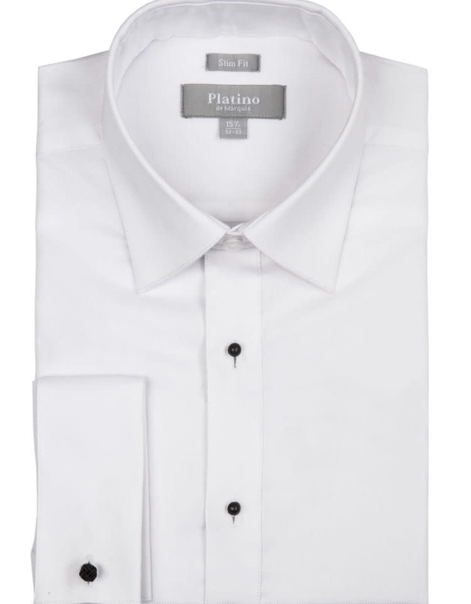 Marquis Tuxedo Slim Fit Dress Shirt Platino 100% Cotton PIQUE White