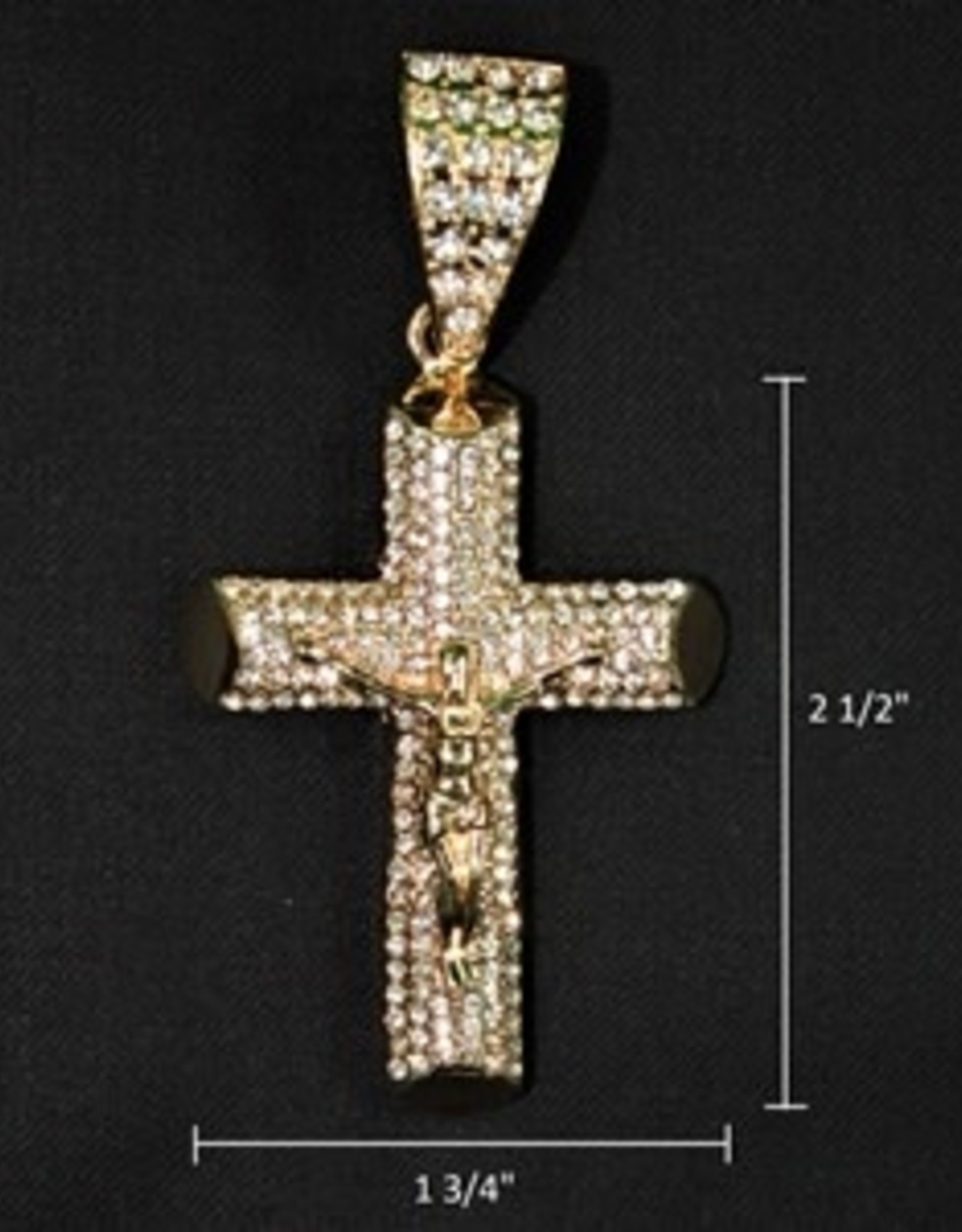 Zuha Trend Cross Crucify Pose Gold with 128 Crystal Dimond Size 2 1/2 By 1 3/4