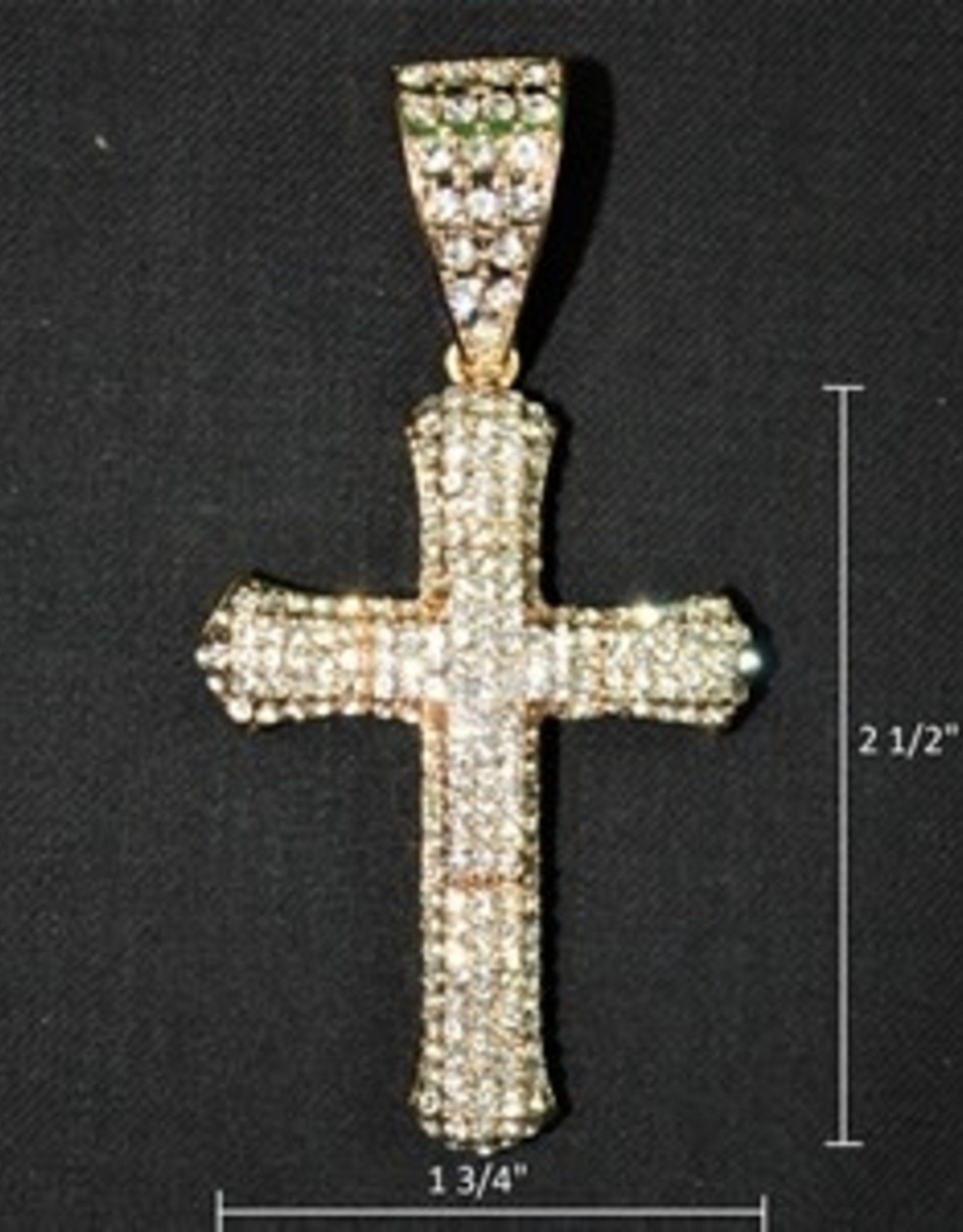 Zuha Trend Cross on Cross Gold with Crystal Dimond Size 2 1/2 By 1 3/4