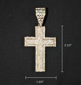 Zuha Trend Cross Gold with 379 Crystal Dimond Size 2 1/2 By 1 3/4