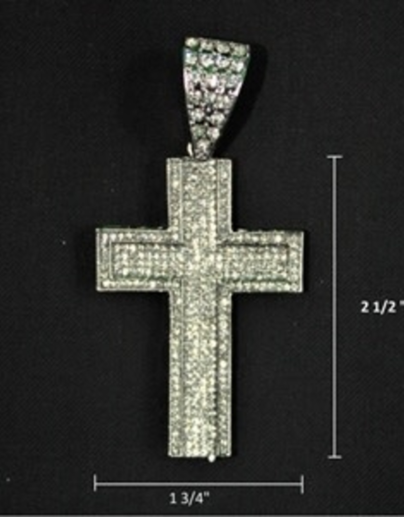 Zuha Trend Cross SIlver with 379 Crystal Dimond Size 2 1/2 By 1 3/4