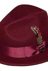 """Bruno Capelo Hat Fedro Executive Brim 2.5""""  Burgundy"""