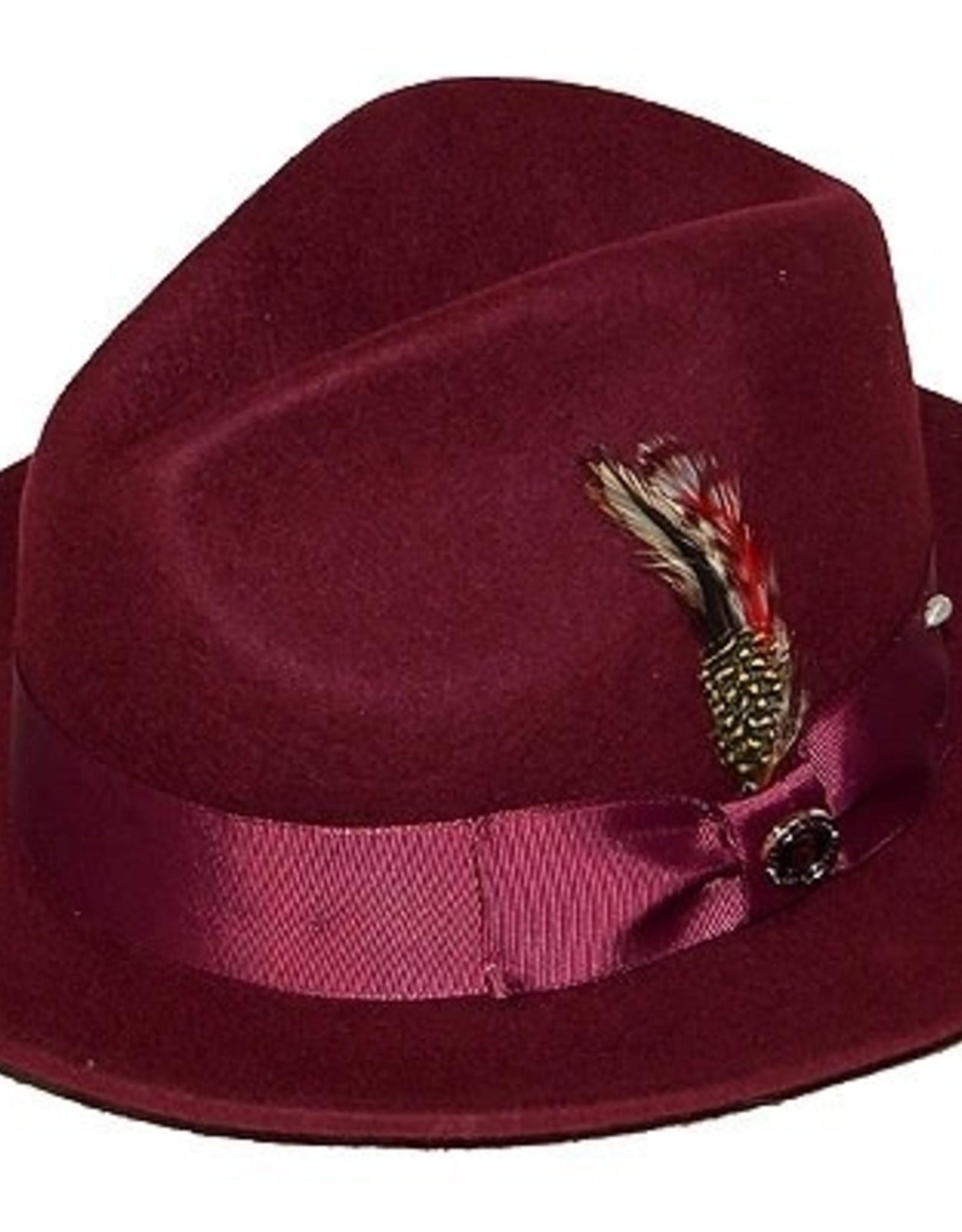 "Hat Fedro Executive Brim 2.5""  Burgundy"