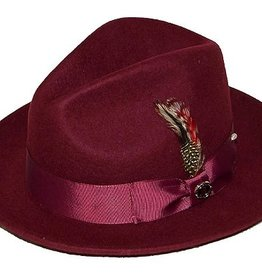"Bruno Capelo Hat Fedro Executive Brim 2.5""  Burgundy"