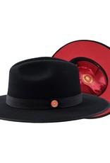 Bruno Capelo Hat Fedro Monarch Brim 3in Black/Red