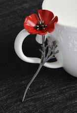 Lapel Pin Metal Red Poppy Flower