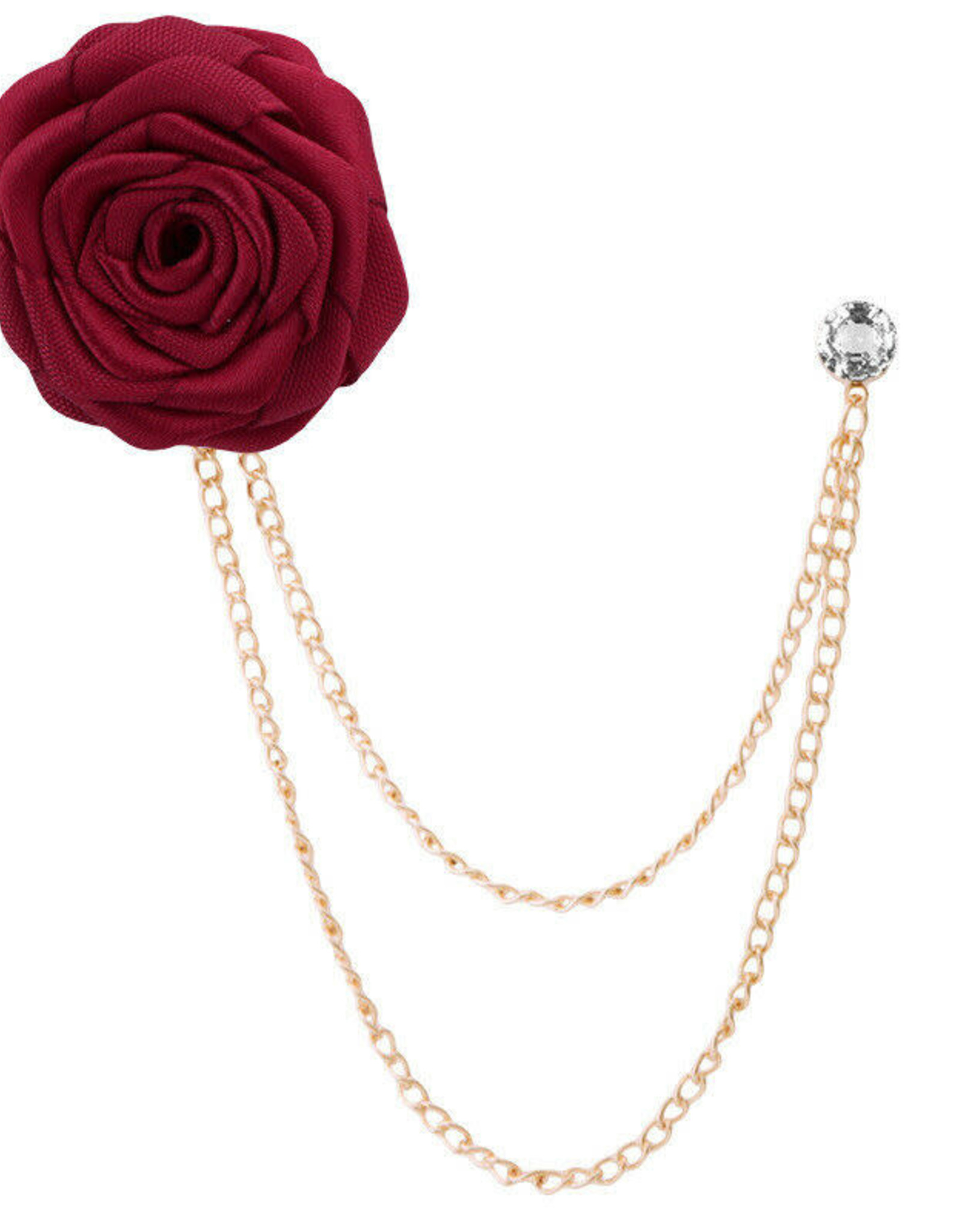 Lapel Pin Rose with Double Chain & Dimond Pin