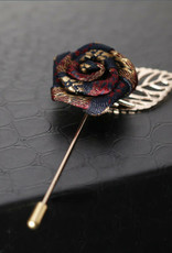 Lapel Pin Rose Glitter Silver with Gold Leaf